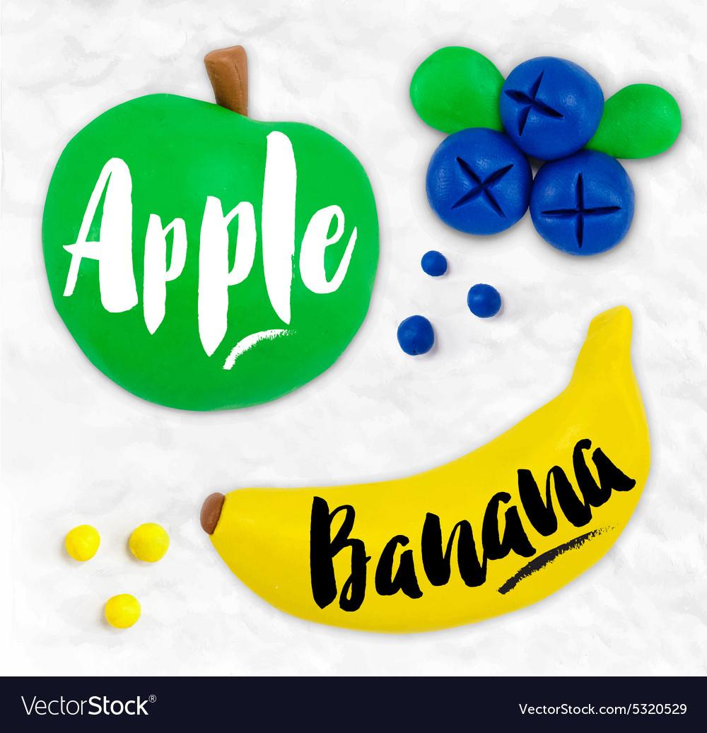 Plasticine fruits apple vector image