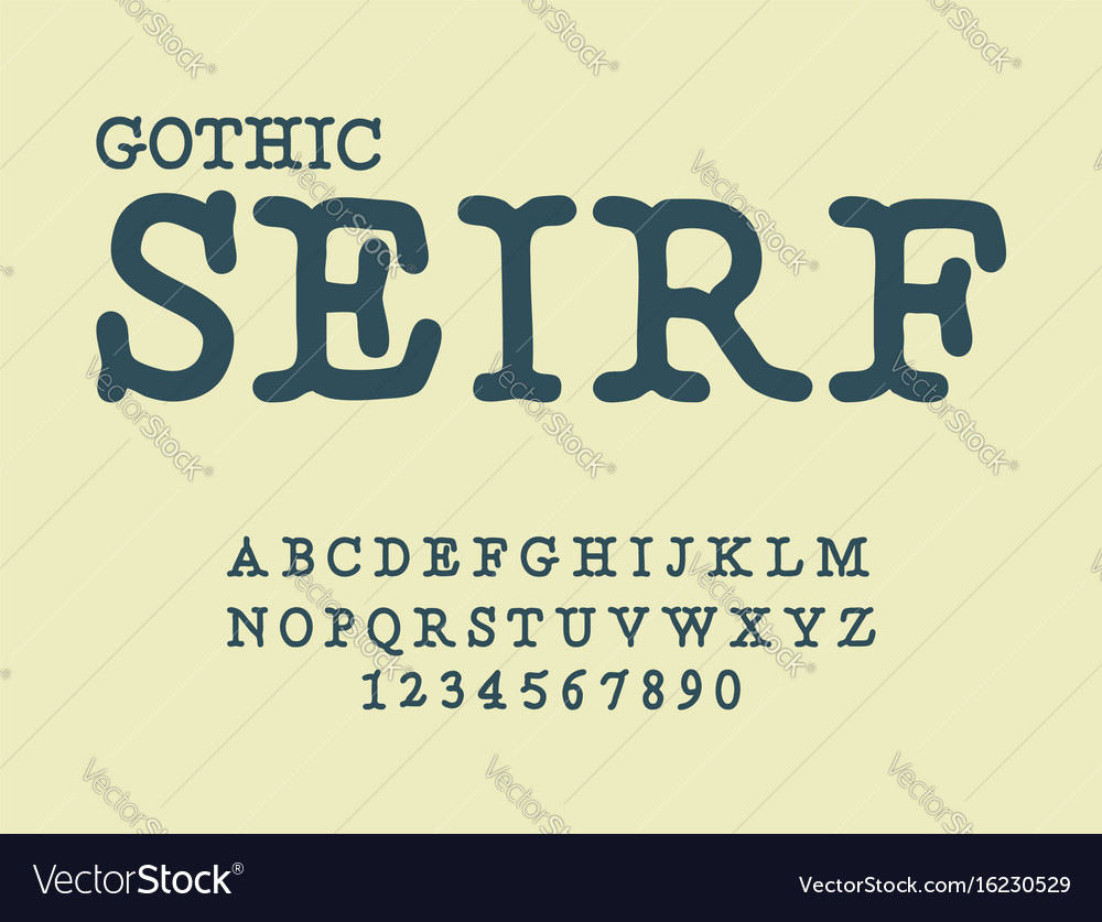 Serif gothic font antique abc traditional vector image