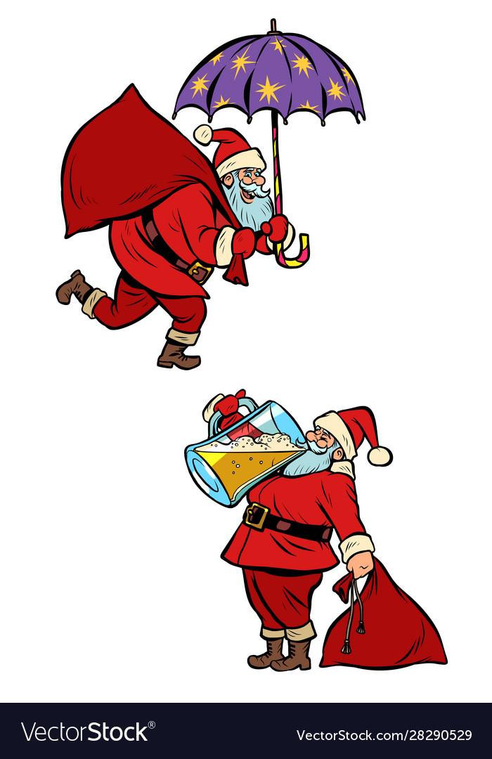 Set collection christmas santa claus magical and