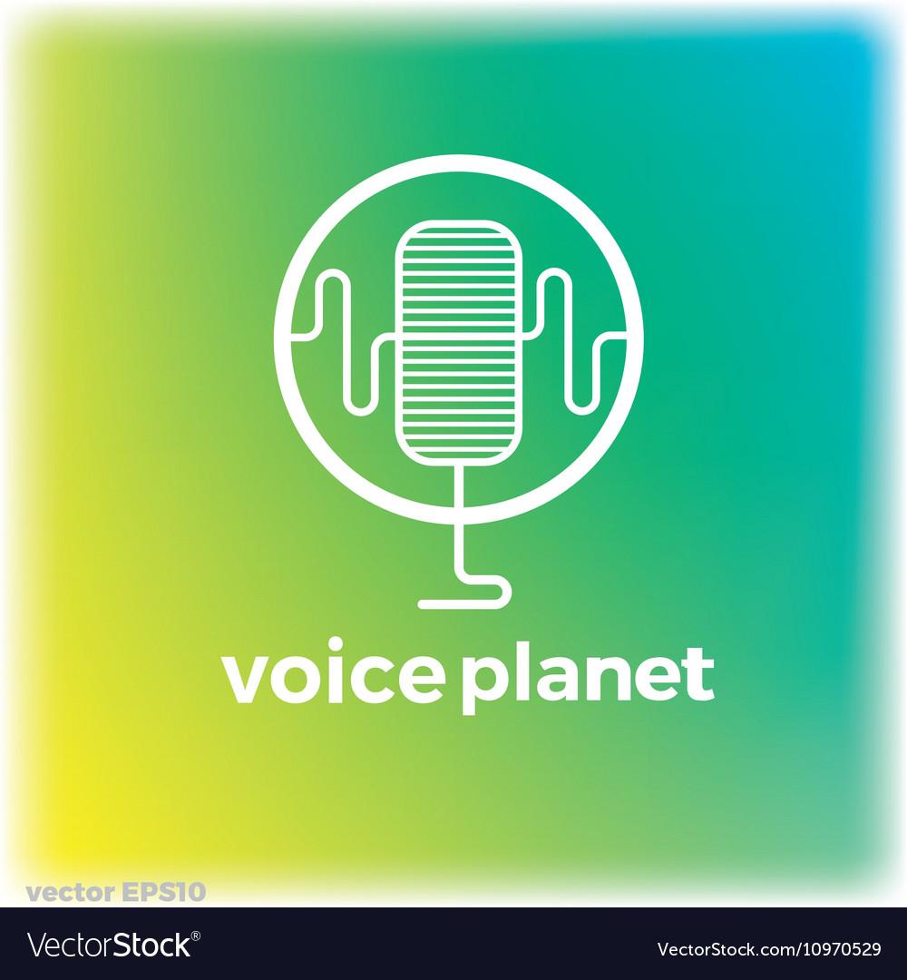 Sound voice planet green wave symbol logo