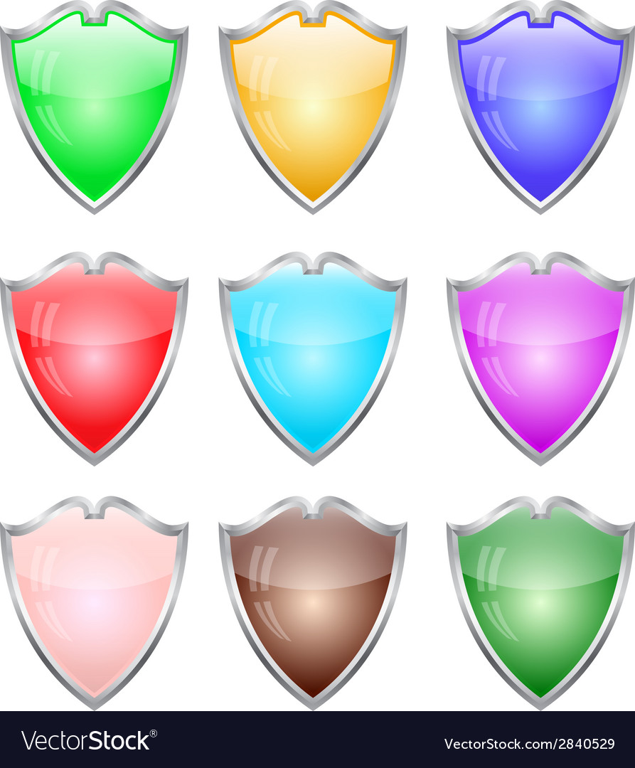 Steel shields in different colors vector image