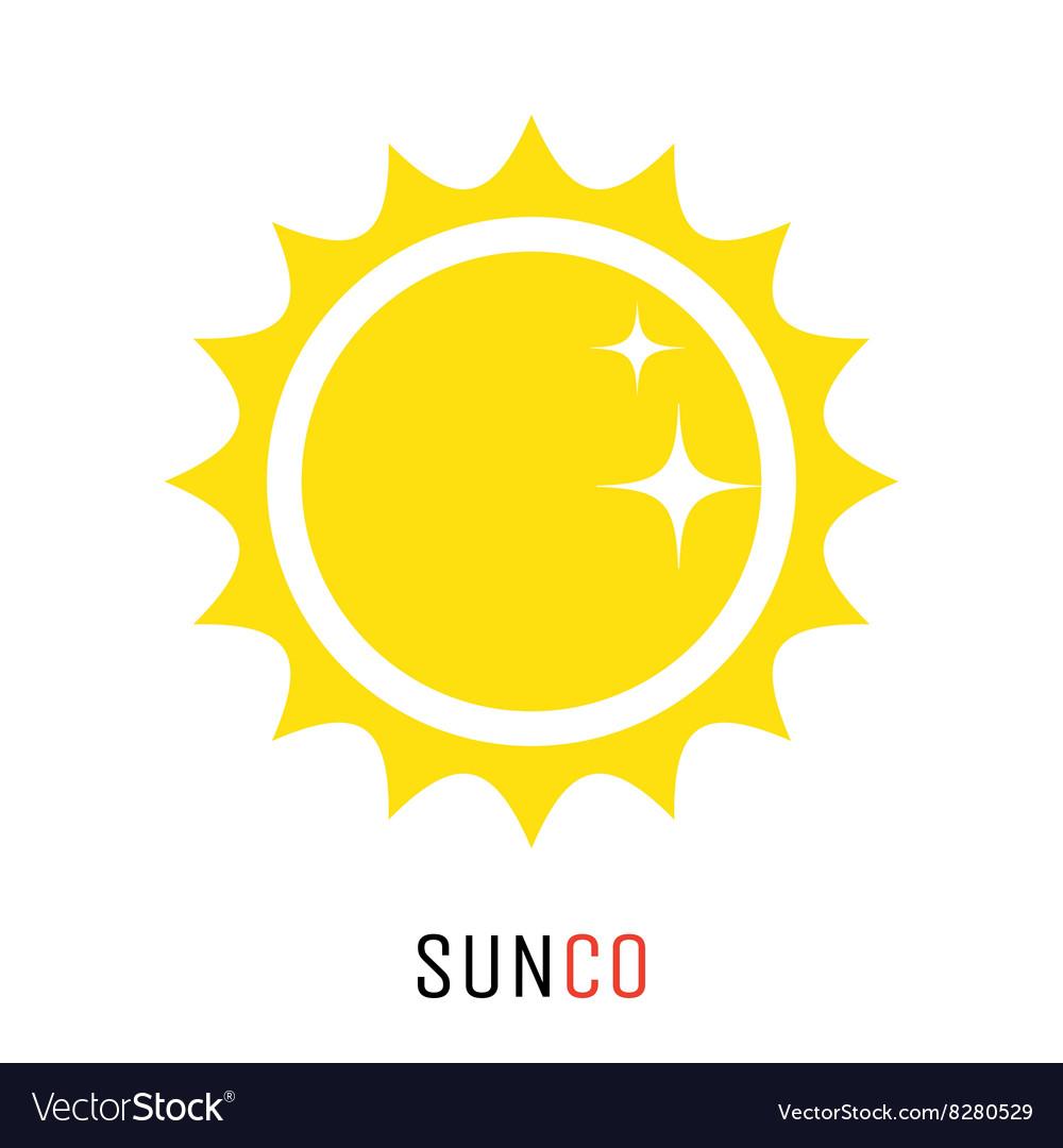 Yellow sun icon logo design concept
