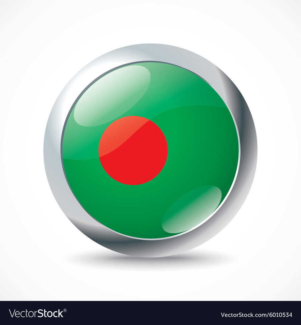 Bangladesh flag button vector image