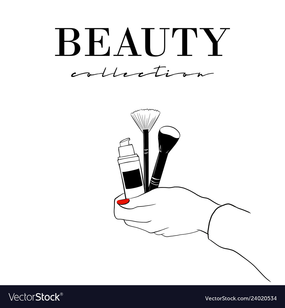 Beauty cosmetics banner women s hand with