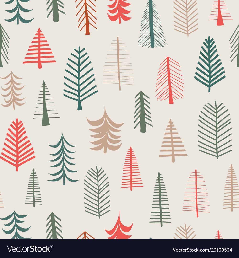 Christmas tree background seamless pattern