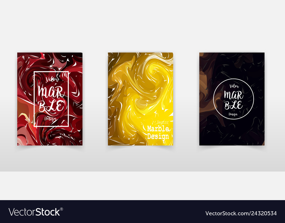 Marble texture covers set colorful artistic