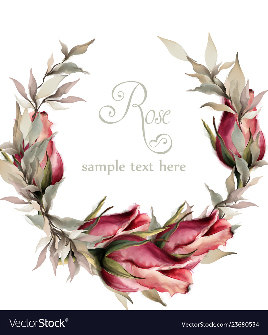 Roses wreath watercolor spring summer vector