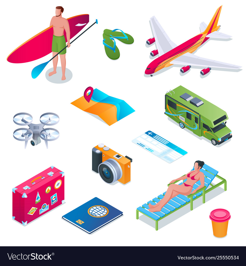 Summer vacation isometric icons 01