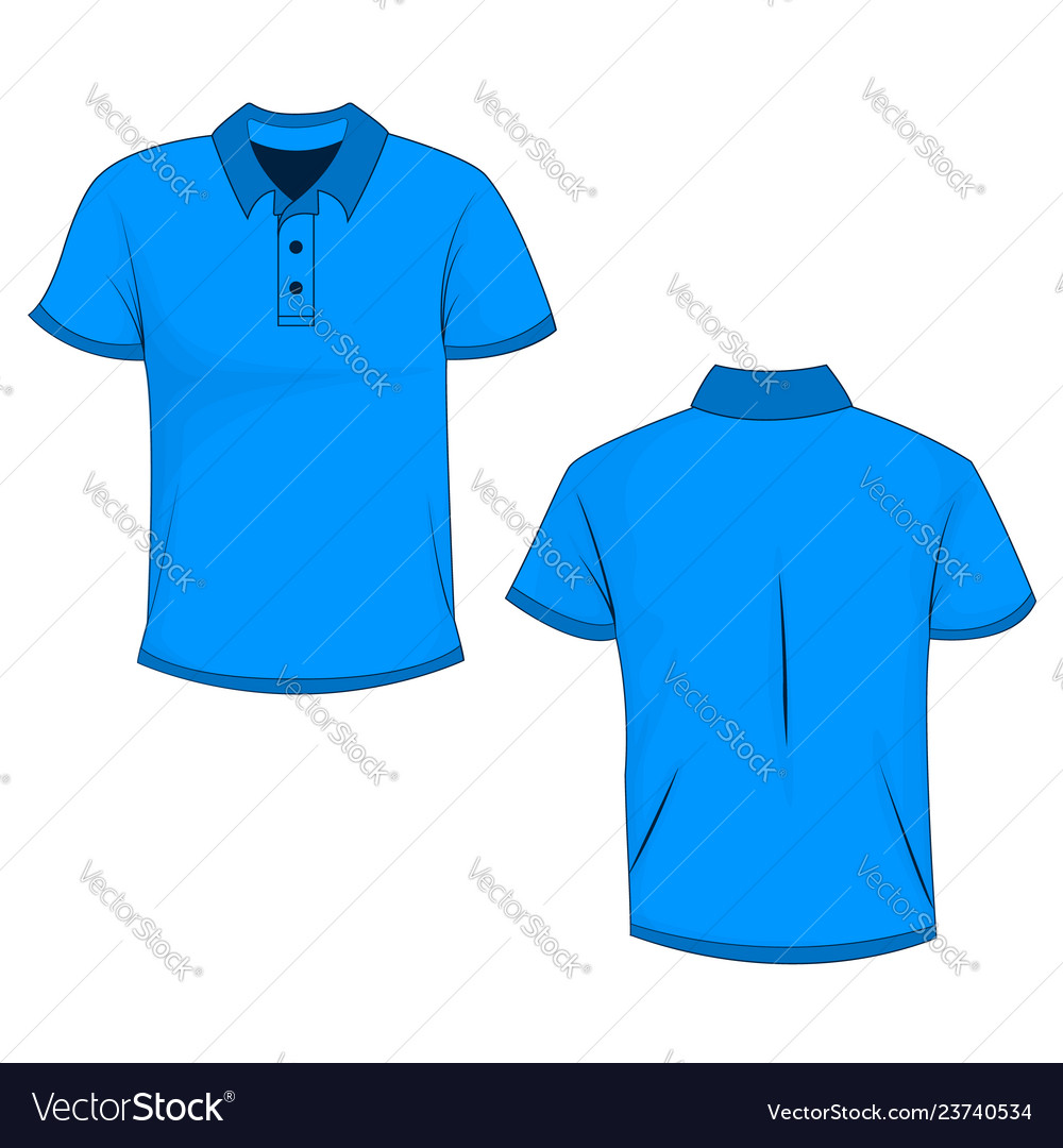 Template Of Front And Back View Of Blue Polo