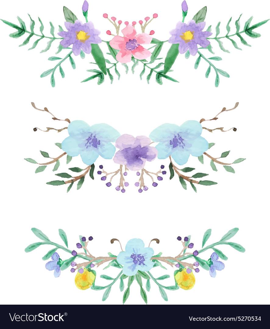Watercolor floral border set
