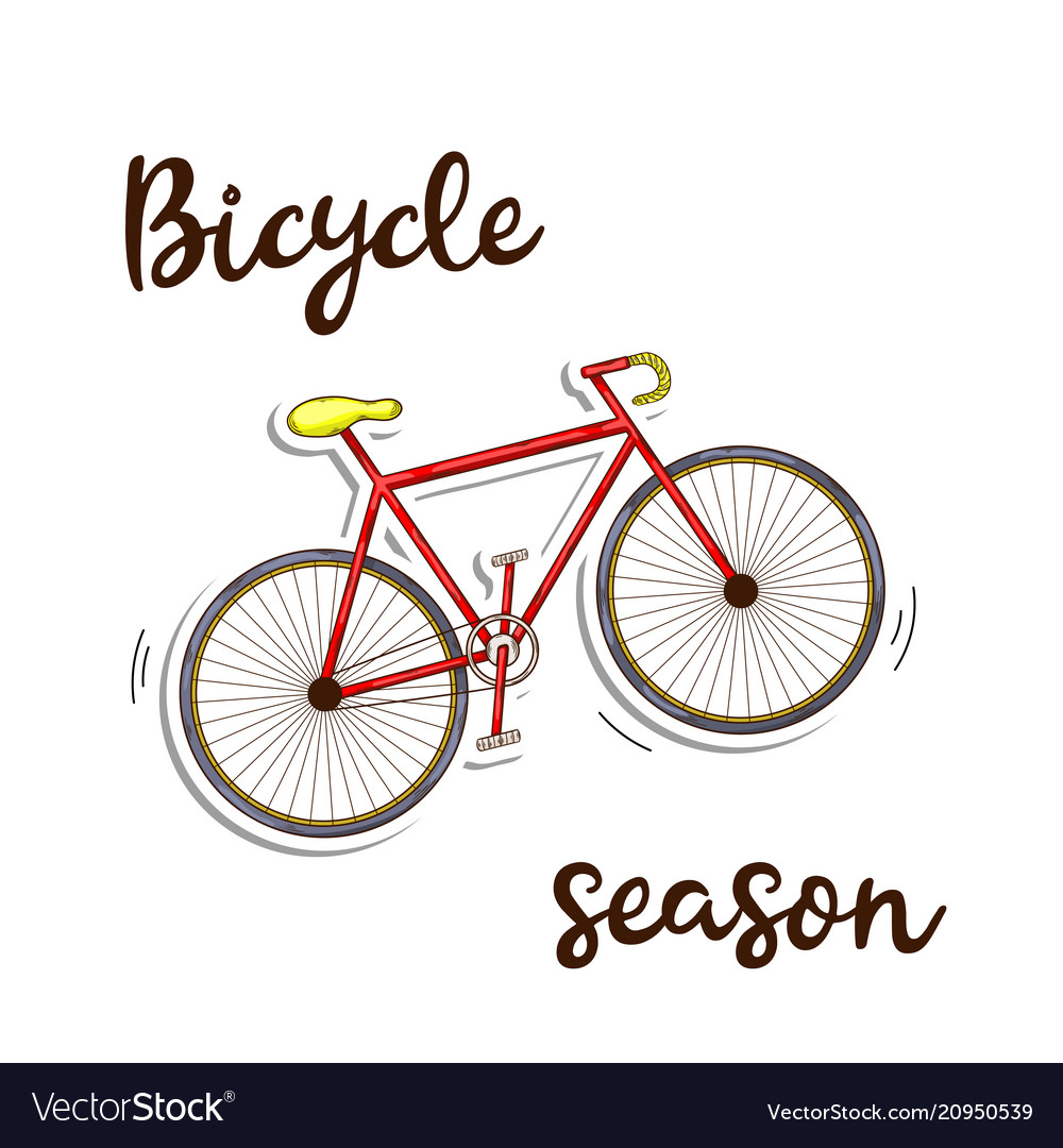 Bicycle season icon ed color in doddle style with