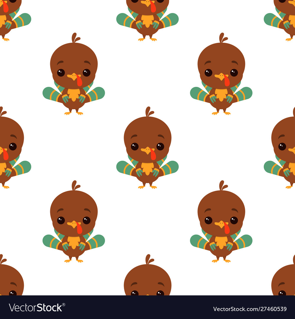 Cartoon funny turkey pattern