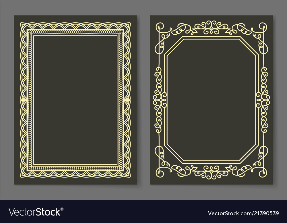 Collection frames golden color isolated on black