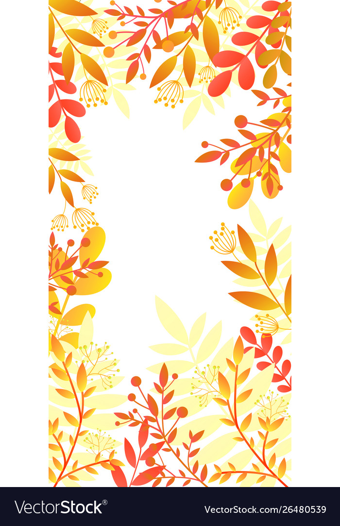 Colorful invitation card with bright autumn plants