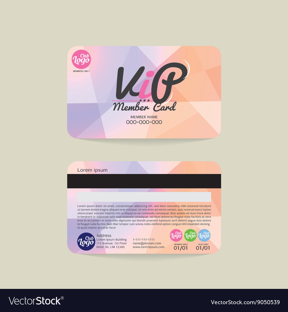 Front and back vip member card template royalty free vector front and back vip member card template vector image maxwellsz