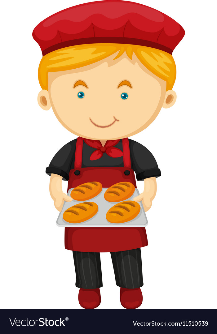 Male baker holding tray of bread vector image