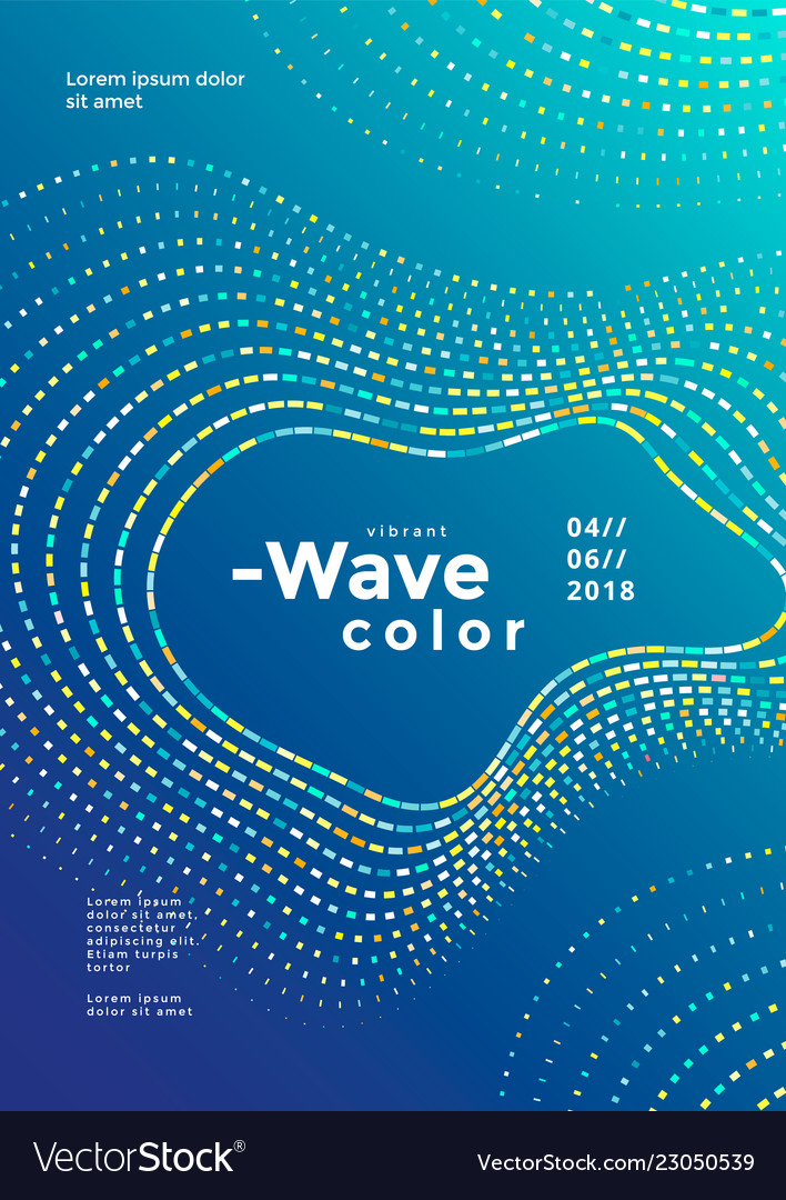 Modern colorful mosaic wave poster