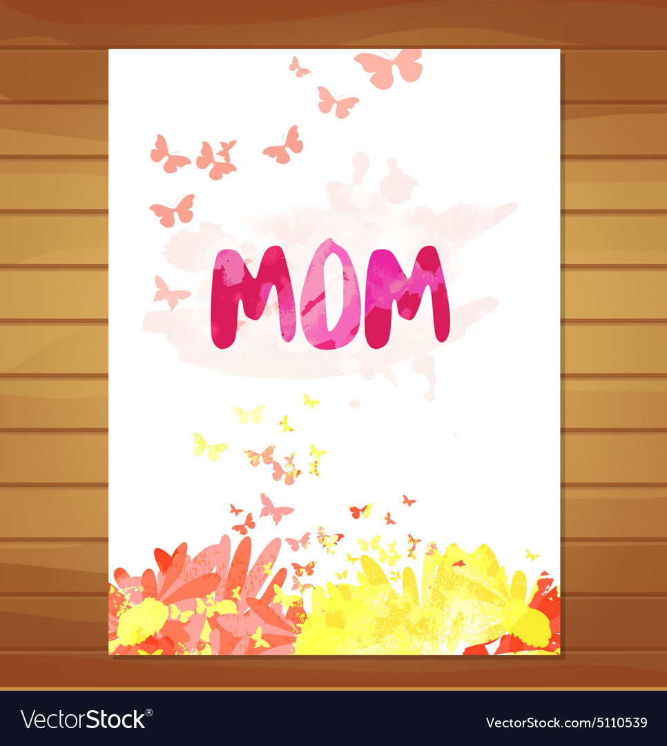 Mothers day card Watercolor floral background