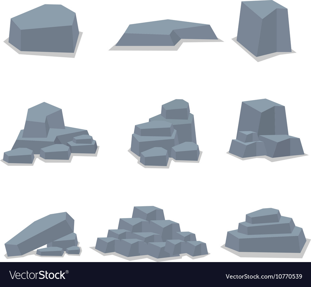 Rock stone set object art vector image