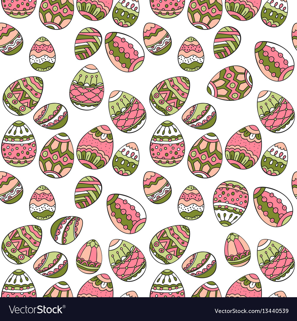 Seamless pattern with doodle easter eggs