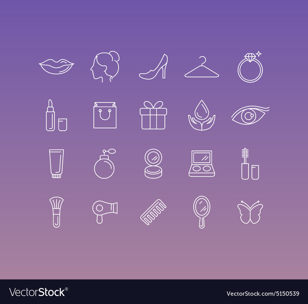 Set of 20 icons and sign in mono line style