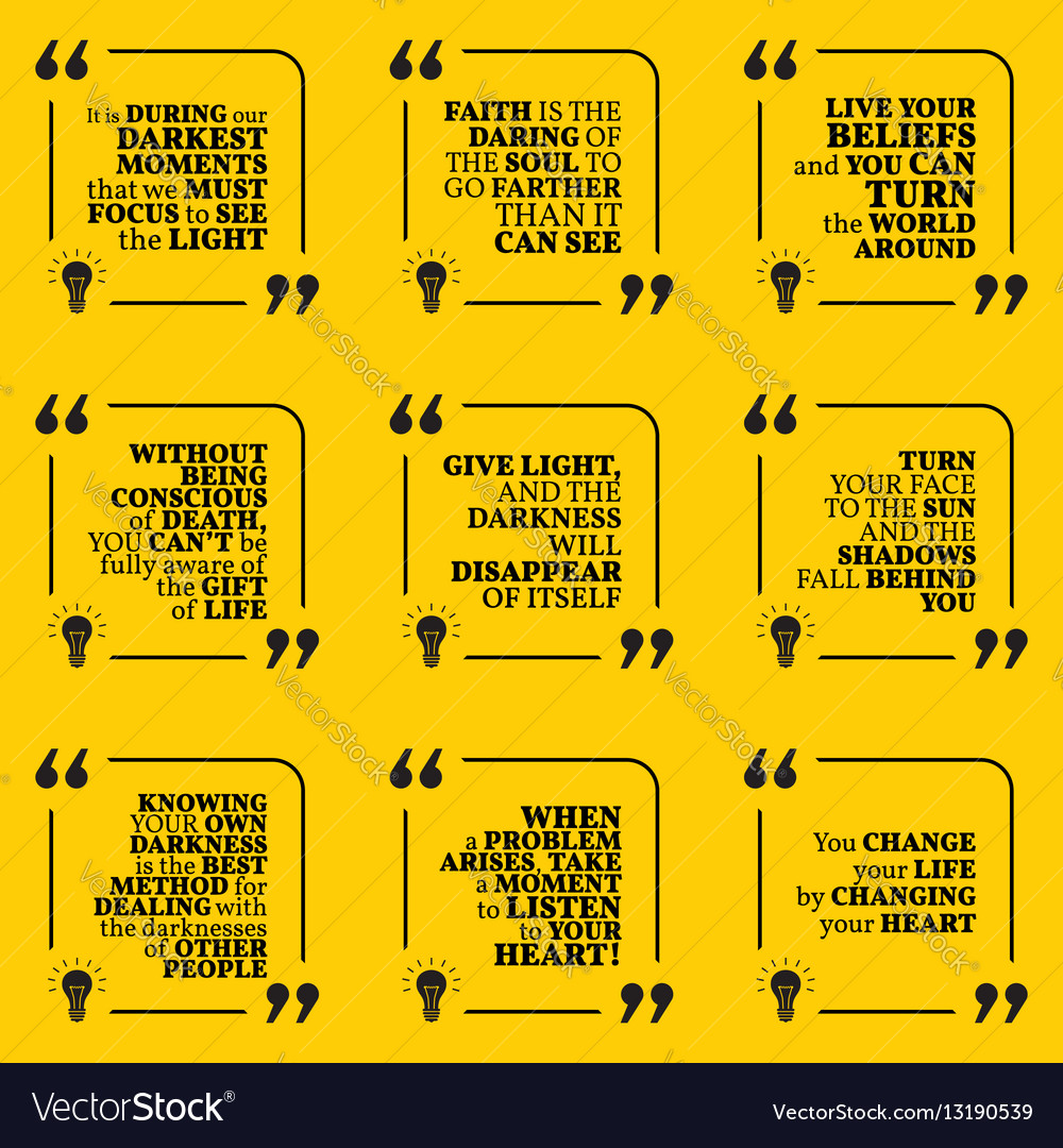 Set Of Motivational Quotes About Darkness Light Vector Image