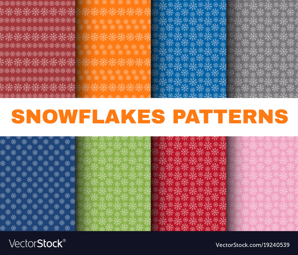 Simple christmas patterns with snowflakes on