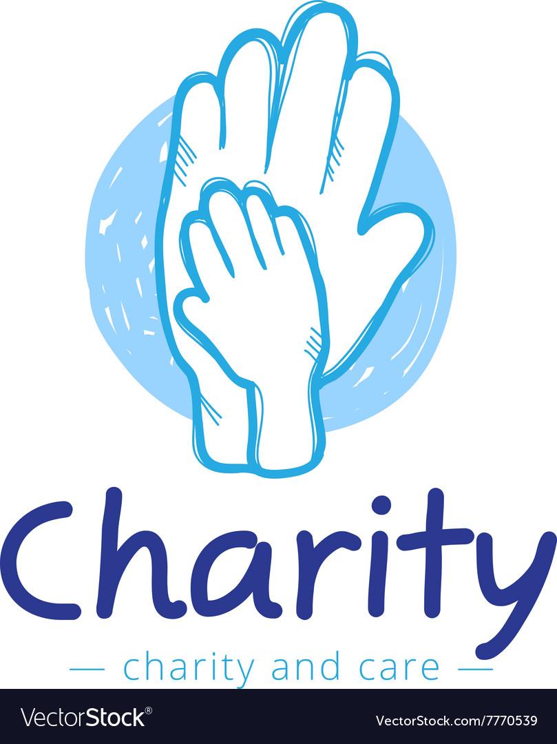 Sketch charity center logo Hospital vector image