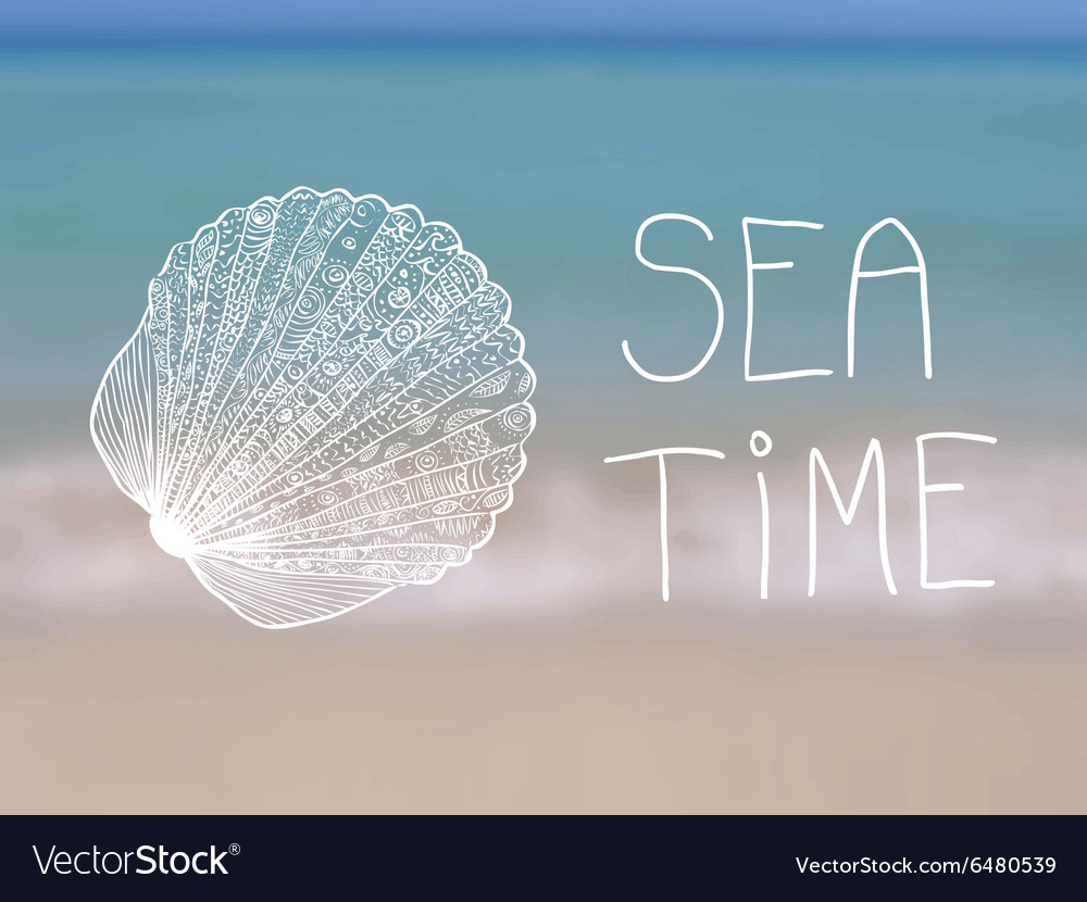 Summer poster with decorative seashell