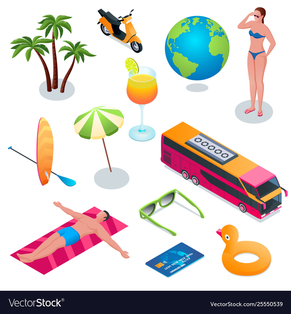 Summer vacation isometric icons 02