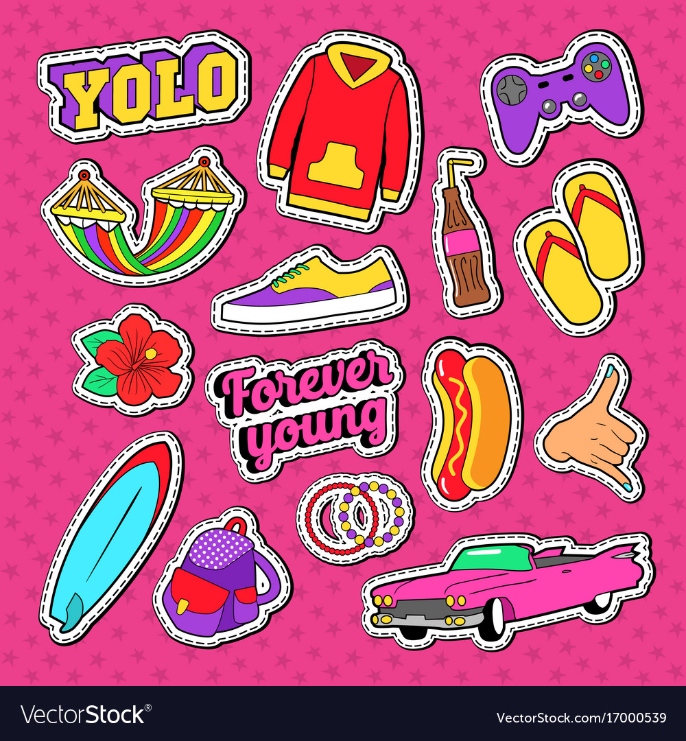 Teenage fashion stickers badges and patches