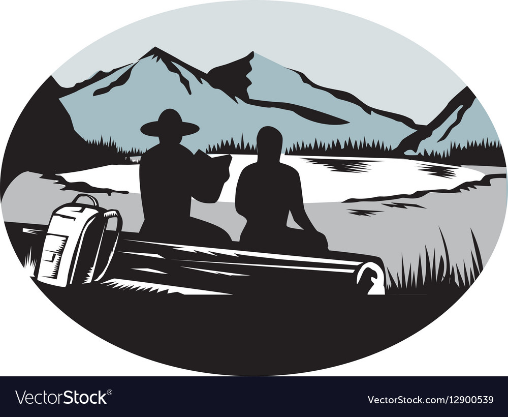 Two Trampers Sitting on Log Lake Mountain Oval