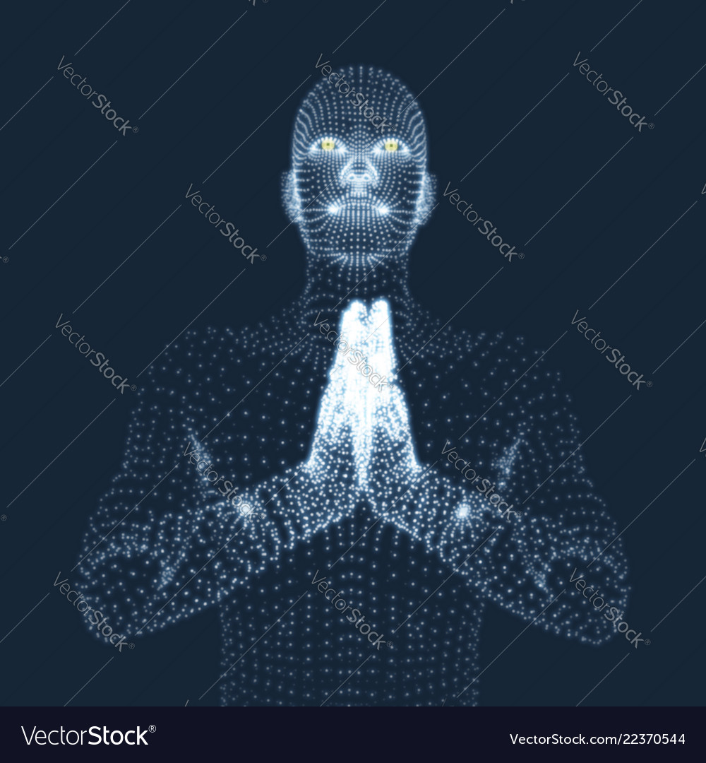 3d model of man man who prays concept