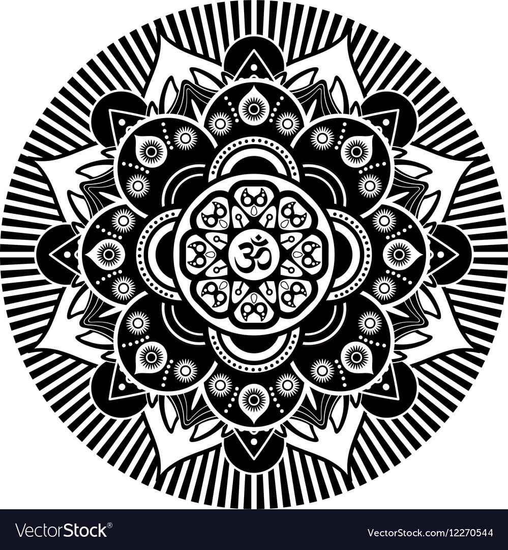 Black And White Henna Tatoo Mandala Om Royalty Free Vector