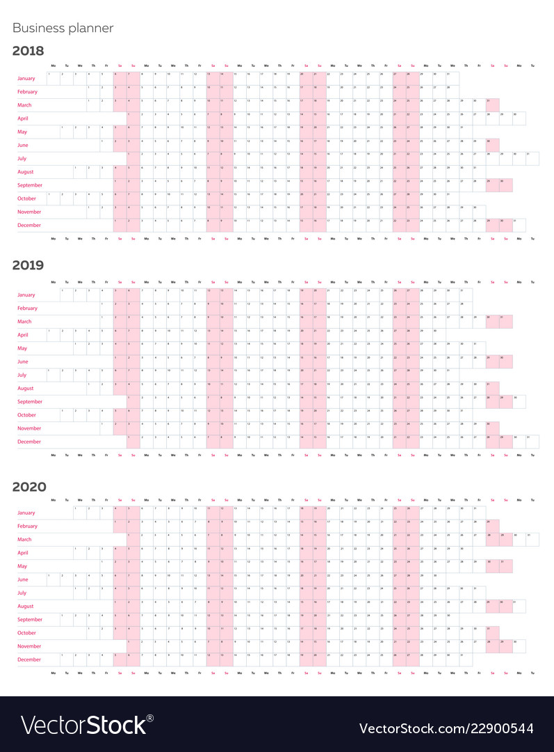Business Planner Calendar Template For 2018 Vector Image