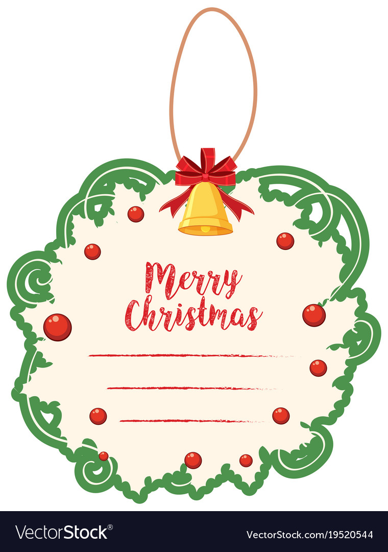 Christmas Card Border.Christmas Card Template With Green Border And Bell