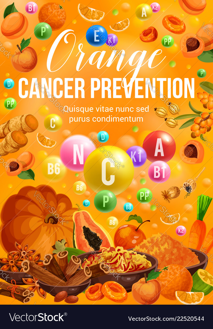Color Diet Food Orange Fruits And Vegetables Vector Image