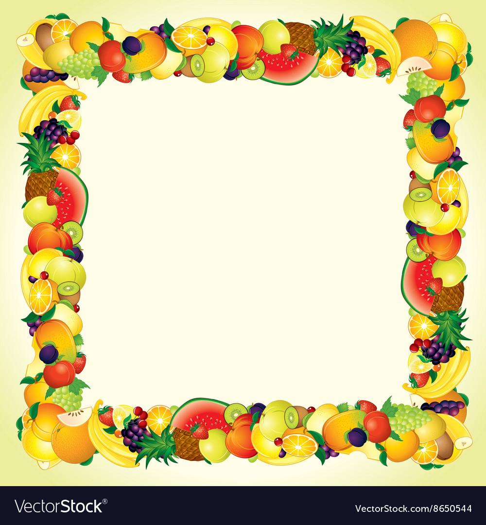 colorful fresh fruits border design image vector image