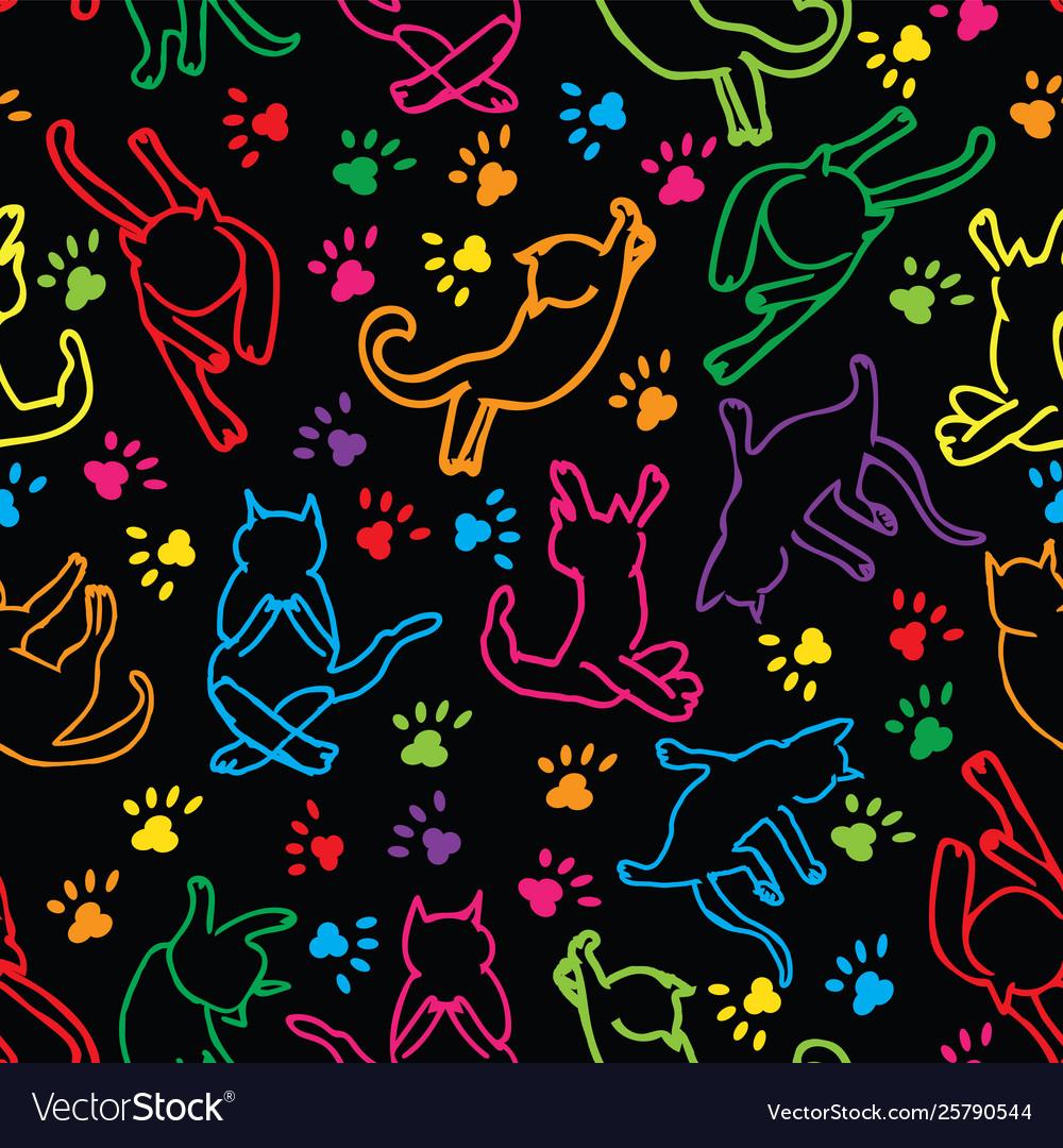 Cute rainbow cats silhouette seamless pattern