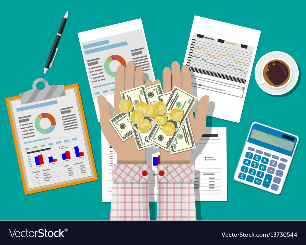 Hands with money and financial reports