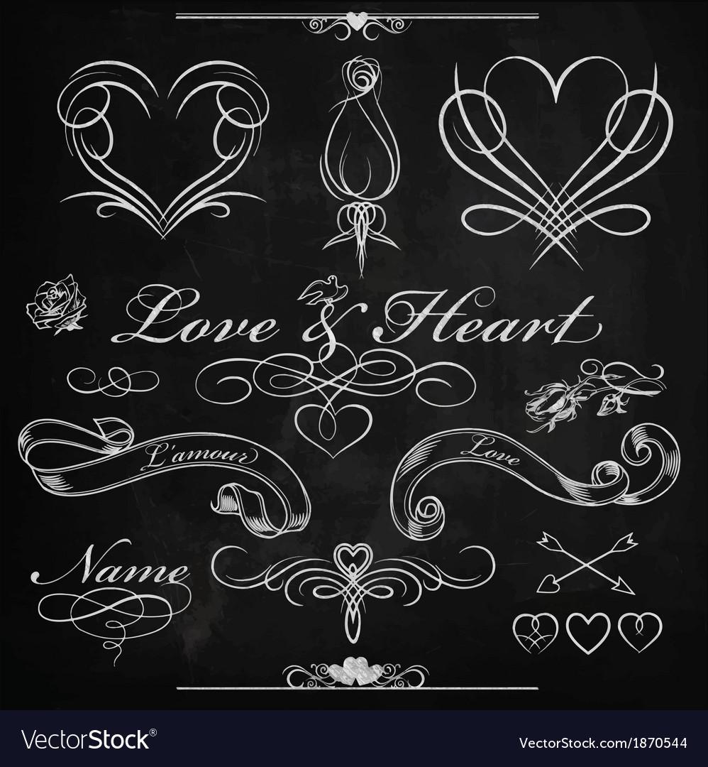 Love and heart chalk design