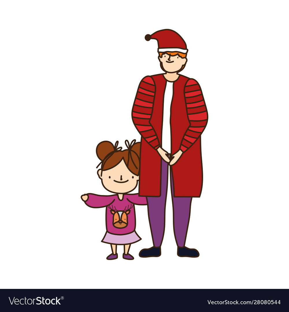 Merry christmas father and daughter warm clothes