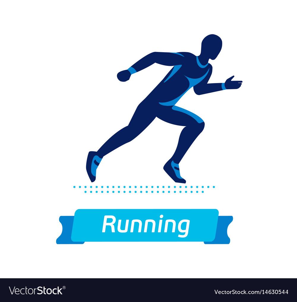 Running man logo or badge silhouette of