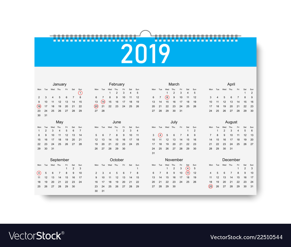 Trendy Calendar On 2019 Year Days For Holiday Vector Image