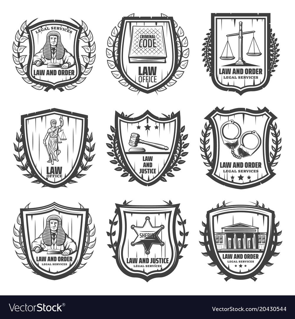 Vintage justice emblems set