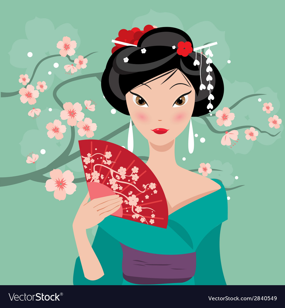 Geisha with a fan vector image