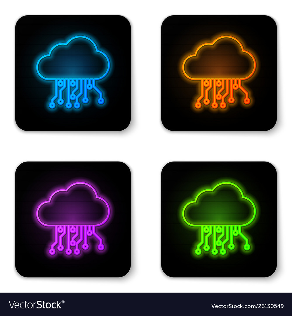 Glowing neon internet things icon isolated on