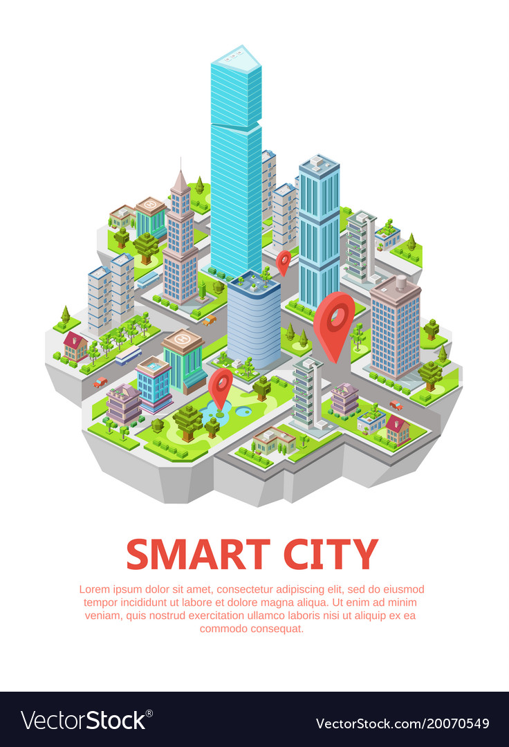 Isometric smart city 3d vector image