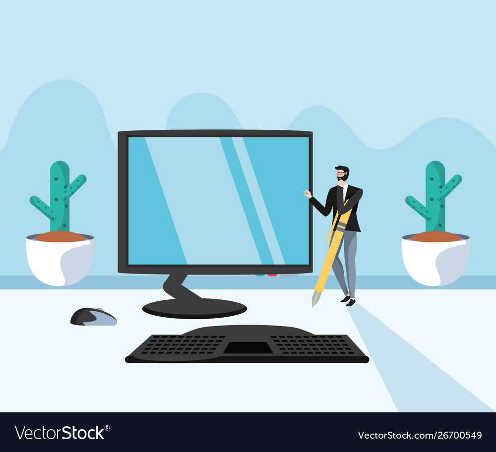Desk Computer In The Vector Image