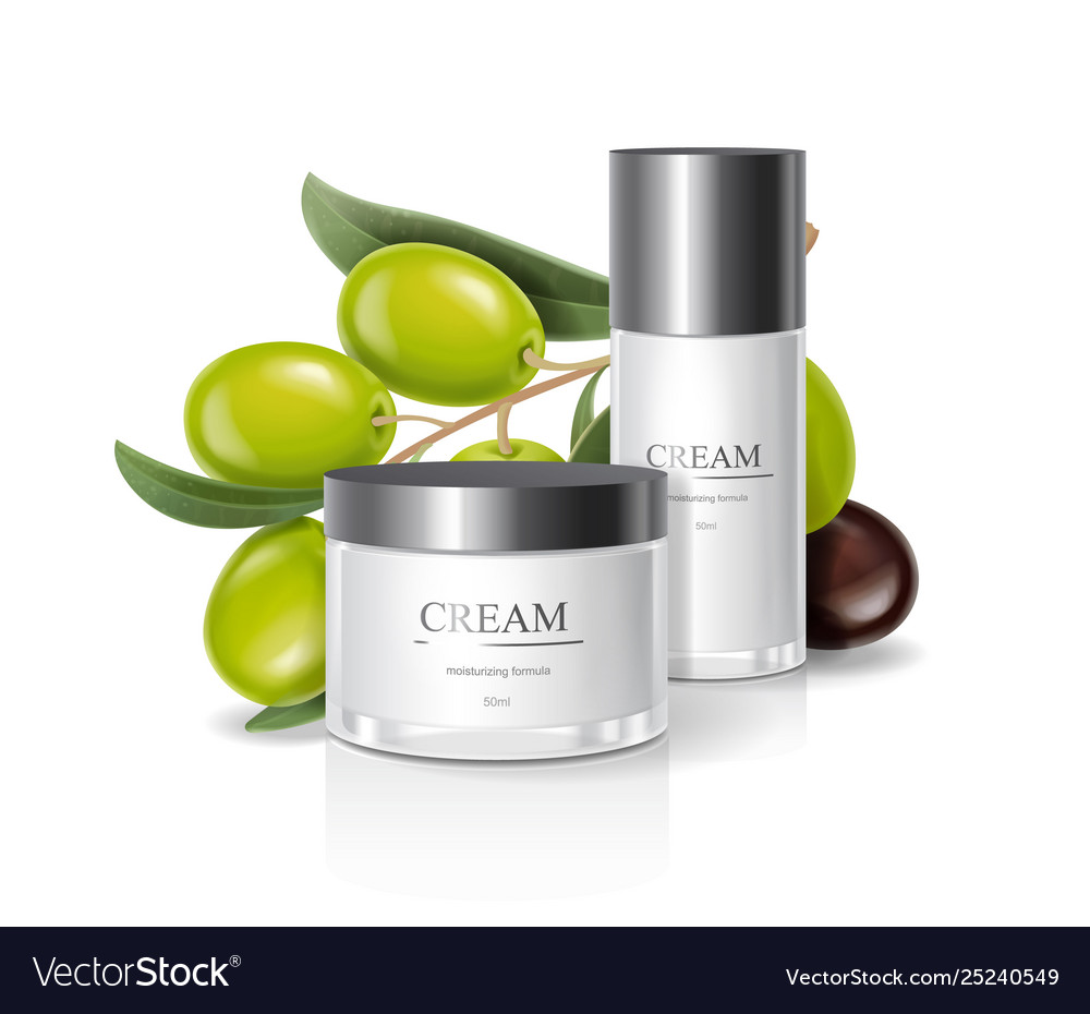 Moisturizing cream jar with olive oil